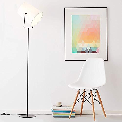 Lampada da terra, 1 luce, 1 x E27 max 60 W, metallo/tessuto, nero/bianco