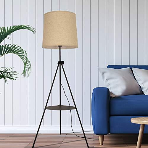 Lampada da terra a treppiede con ripiani Paralume in lino bianco beige Uplighter Nordico moderno regolabile in piedi E27 Lampadina per soggiorno Camera da letto Ufficio Contemporaneo Faretto