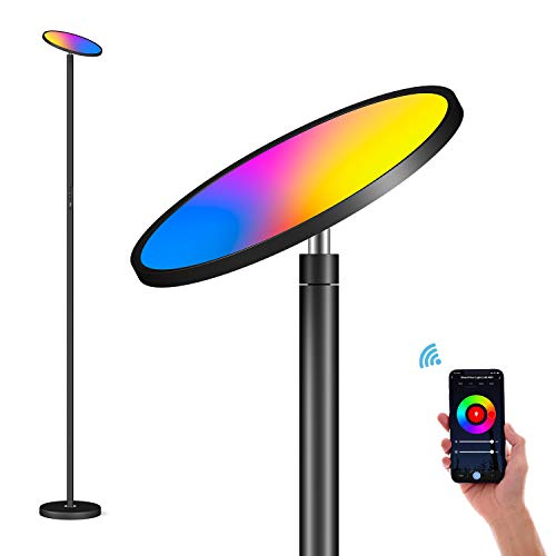 Lampada da Terra LED Intelligente 35W, Lampada da Pavimento RGBW Dimmerabile Piantana Lampada, Controllo Touch & Controllo APP, 2700K-6500K, Compatibile con Alexa e Google Home, Nero