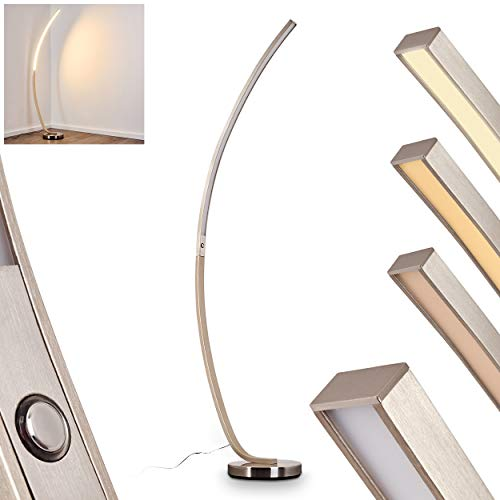 Lampada da terra LED Kimbolton in metallo di colore nichel opaco - Piantana con interruttore touch tattile e dimmer per variare l'intensità di luce - Luce calda 3000 Kelvin - 20 Watt