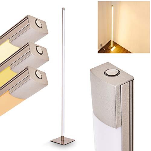 Lampada da terra LED Playa in metallo di colore nichel opaco - Piantana a forma perpendicolare con intensità di luce variabile - Lampada a stelo con dimmer incluso tattile - 1 x 13,5 Watt - 800 Lumen