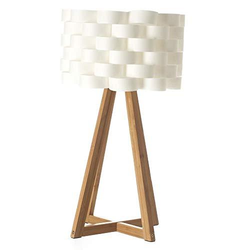 Lampada da terra - Piedi in Bambù ed abat jour intrecciata aspetto fibra di vetro .
