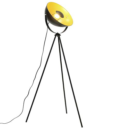 Lampada da Terra Vintage industriale-piantana elegante retrò con paralume orientabile,alta 148cm,lampada a stelo colori nero e oro E27,Metallo,ldeale per salotto,camera da letto