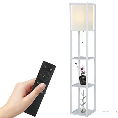Lampada da Terra,Tomshine Lampada a stelo con scaffale in legno con telecomando 1.6M (Lampadina inclusa & lampadina max.100W)
