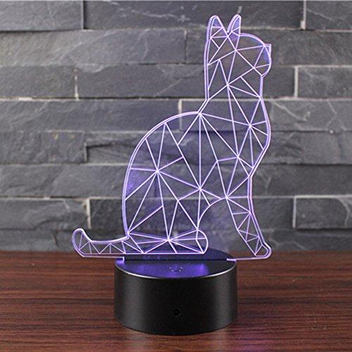 Lampada Effetto 3D Luce Notturna Regolabile Con 7 Colori Interruttore Tattile Lampada Della Casa Del Natale (Guardare il gatto)