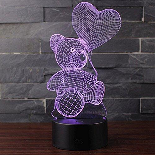 Lampada Effetto 3D Luce Notturna Regolabile Con 7 Colori LED e Interruttore Tattile Lampada da Scrivania della Casa Del Migliore (PALLONCINO E ORSO)