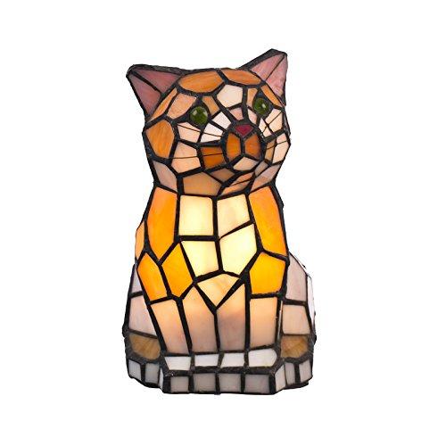 Lampada in stile Tiffany Tiff101, lampada a forma di gatto, lampada decorativa, lampada in vetro, lampada da tavolo, lampada da tavolo