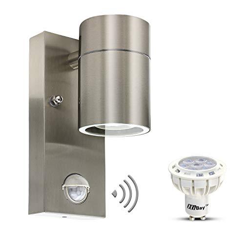 Lampada LED da esterni con sensore di movimento, lampada da parete in acciaio inox GU10, lampada da esterno con lampada a LED da 7 W, luce bianca calda