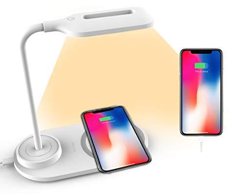 Lampada LED da Tavolo, Scrivania o Comodino A&S, con Base di Ricarica Wireless, 3 Intensità Luminose, adatta per Ufficio, Studiare o Disegnare o Leggere