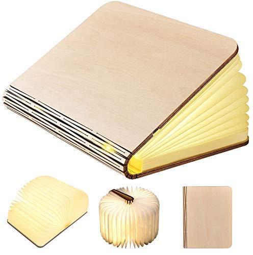 Lampada Libro GEEDIAR Lampada a Libro USB Ricaricabile Pieghevole in Legno Magnetico LED Luce in Forma di libro, 2500mAh Batteria litio Lampada da Tavolo, Bianco Caldo