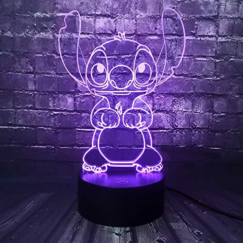Lampada Lilo & Stitch, lampada da comodino 3D a forma di principessa, lampada da comodino per camera da letto, con telecomando, multicolore