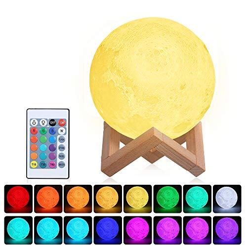 Lampada Luna 3D Stampata 16 Colori, Luna Lampada Led 15cm,3D Luna luce USB Ricaricabile ,Moon Lamp Lampada led Luna con Telecomando e Stand in Legno [Classe di efficienza energetica A+++]