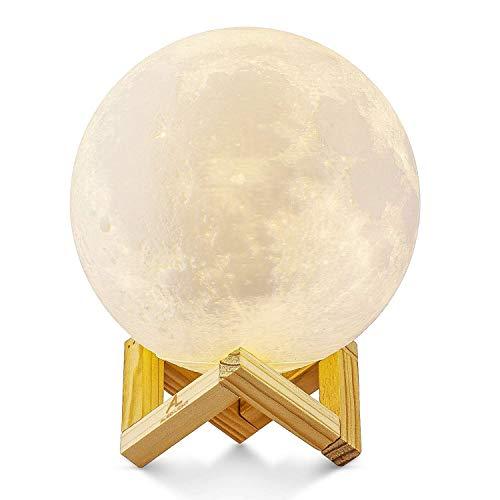 Lampada Luna 3D Stampata, ALED LIGHT Piena Lampada Moon Luna con Diametro 15cm, 3 Colori, Ricarica USB Decorativo LED Luce Notturna Toccare il Controllo, Decoro per Stanza Letto Mood Light per Camera