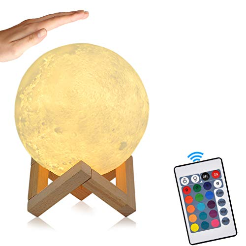 Lampada Luna GEEDIAR 15cm 3D 500 mAh Batteria LED RGB Colorato Moon Lamp con Sensore Tocco, Luce Lunare Notturna, Telecomando, 500 mAh Batteria Dimmerabile, Supporto in legno, con timer