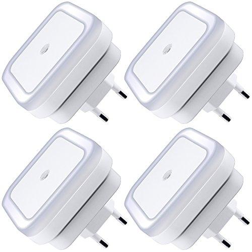 Lampada notturna a LED con sensore ON / OFF automatico intelligente Set di 4, lampada plug-in DART 0.5w per camera da letto, bagno, corridoio, scale o camera oscura Luminosità morbida. (Bianca)