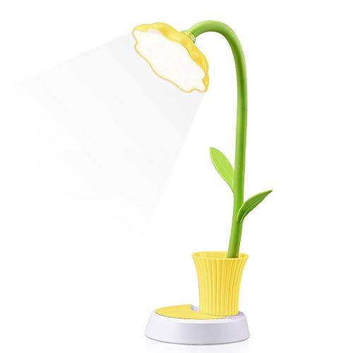Lampada per bambini, lampada da tavolo creativa ricaricabile Lampada da tavolo con sensore tattile per protezione degli occhi Lampada da comodino dimmerabile con portapenne (giallo)