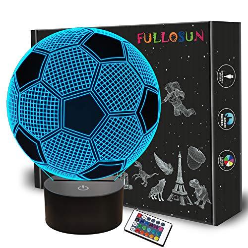 Lampada per illusione ottica 3D di calcio notturno per bambini con 7 colori che cambiano calcio Idea regalo di San Valentino per fan di sport Ragazzi Ragazze