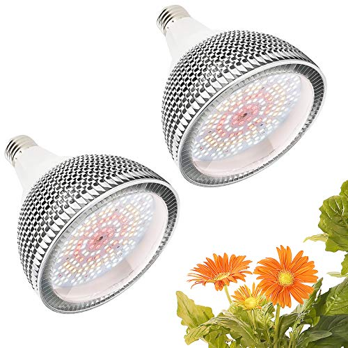 Lampada per Piante 150W 200LEDs, Lampade per Piante Crescita E27, Full Spectrum Grow Light Lampada Piante Coltivazione per Piante Interno, Pianti Frutta Verdure Fiore(2 pezzi)