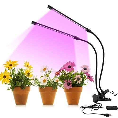 Lampada per Piante, 9 Luminosità Lampade LED Coltivazione Indoor Con Timer Automatico 3H/9H/12H, 2 Teste 20W Lampada Crescente, per Semina, Crescita, Fioritura e Fruttificazione