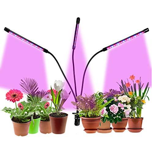 Lampada per piante a LED, lampada per la crescita da 30 W, luce di cera con 60 LED, dimmerabile, a spettro completo per piante con 3 timer 3/6/12 ore, per piante da appartamento, giardinaggio.