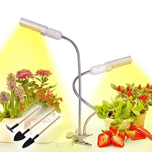 Lampada per Piante a Spettro Completo da Interno di 2 Teste con Timer, Luce da Coltivazione a LED di 5 Luminosità Lampadine E27 Sostituibili con Strumenti da Giardinaggio per Germinazione Crescita