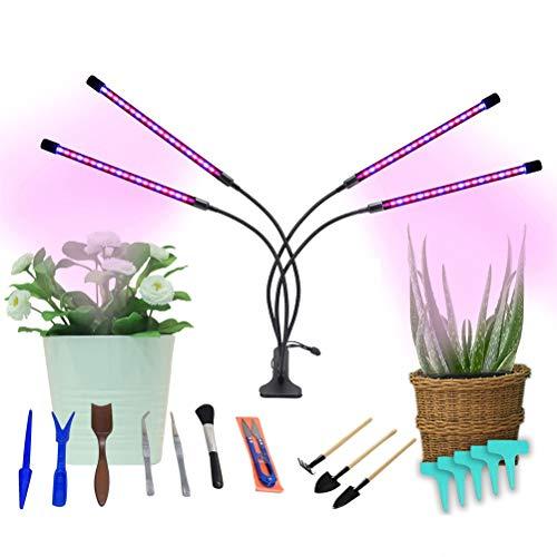 Lampada per Piante a Spettro Completo da Interno di 4 Teste 40 W 80 LEDs con Timer, Luce da Coltivazione a LED di 9 Luminosità con Attrezzi da Giardinaggio per Germinazione Crescita della Piante
