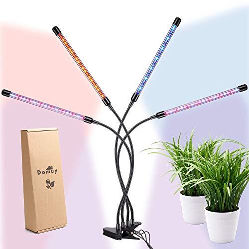 Lampada per Piante da Interno, Luce a LED per Coltivazione Indoor con 4 Teste, Timer Automatico, Pinza Clip, USB e Adattatore AC, Luce Solare a Spettro Completo per Semina, Crescita e Fioritura