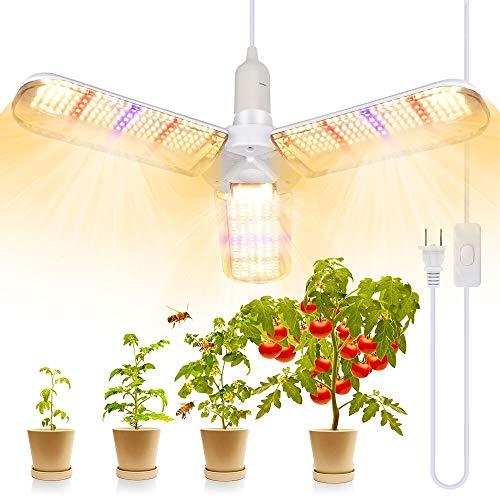 Lampada per Piante, SINJIALight E27 150W LED Grow Light con 3 Ali, Angolo Regolabile 414 LEDs Luce per Piante di Spettro Completo con Cavo di Alimentazione, per Tutte le Fasi di Crescita