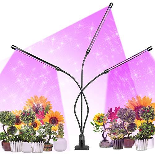 Lampada per Piante,infinitoo Upgrade Grow Light Full Spectrum Lampade LED per Piante con 60LEDs 3 Teste con 360 Gradi Flessibile Collo di Cigno, Con Timer 3/6/12H Lampade LED Coltivazione