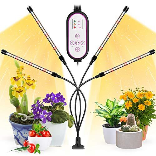 Lampada Piante Indoor, Garpsen 2020 Lampade Led Coltivazione, 80 LEDs 4 Heads 660nm/3000K/5000K Luci per Piante con Timer, Spettro Completo Grow Light per Semina, Crescita, Fioritura e Fruttificazione