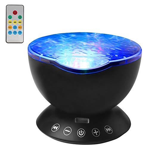 Lampada Proiettore Oceano, Luce Notturna con 7 Colori, Lampada Proiettore Stelle Bambini con Musica, 45° Rotazione, Camera da Letto, Soggiorno, Nero