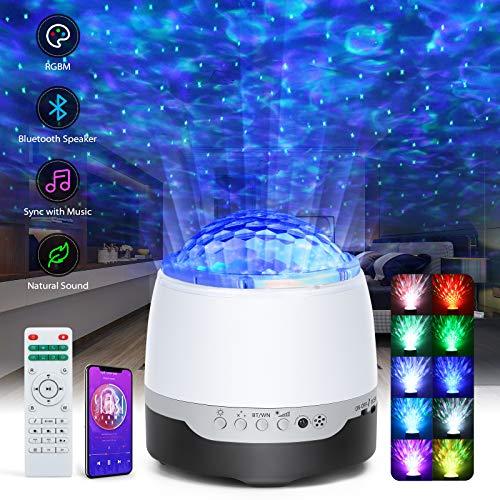 Lampada Proiettore Stelle, ARORY Proiettore Stelle Soffitto con telecomando, LED Lampada Musicale Romantica Cielo Stellato con Altoparlante Bluetooth, 8 Suoni Rilassanti, per Bambini, Adulti, Natale