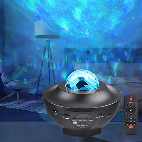 Lampada Proiettore Stelle, GEEDIAR Bluetooth LED Luce Proiettore, Luce Notturna Bambini, Carica USB, Lampada, con Telecomando, Altoparlante, per Regalo, Decorazionie
