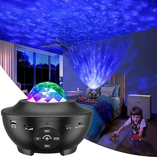 Lampada Proiettore Stelle, Luce Notturna Bambini con 10 Modalità, LED Lampada Musicale Romantica Cielo Stellato, con Telecomando, Timer, Altoparlante, Bluetooth, Regalo per Adulto, Bambini
