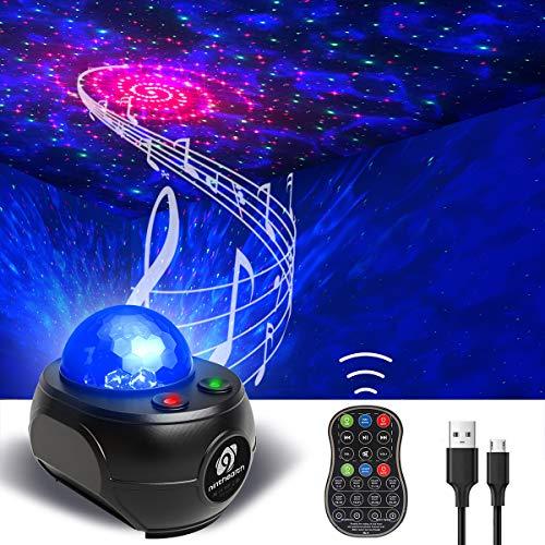 Lampada Proiettore Stelle, Ninthealth Luce Notturna Bambini Proiettore Stellato LED Proiettore Musicale Cielo con Telecomando, Timer, Altoparlante, Bluetooth per Bambini/Adulti/Regalo/Decorazioni