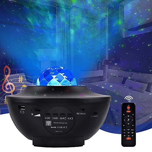 Lampada Proiettore Stelle, Senders Proiettore a Luce Stellare con 10 Modalità, LED Lampada Musicale Romantica Cielo Stellato con Altoparlante Bluetooth, Telecomando, Timer, Regalo per Adulto, Bambini