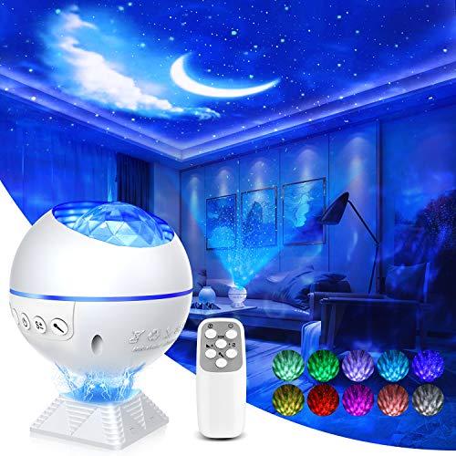 Lampada Proiettore Stelle,3In1 Proiettore Ocean Wave Night Light Star,Con Controllo vocale telecomando,40 colori Mini 360 Pro Proiettore di luce per auto da soffitto per camera da letto Adulti Bambini