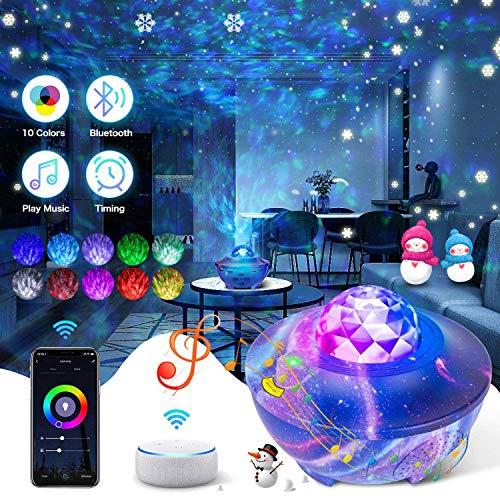 Lampada Proiettore Stelle,Proiettore a Luce Stellare LED Lampada Musicale Romantica Collegati all'Assistente Google con Telecomando, Timer, Altoparlante,