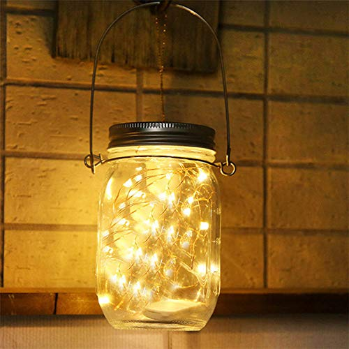 Lampada Solare Luce Solare Esterna Mason Jar String Lights 30 LED Impermeabile Lampadina Atmosfera per Cene, Giardino, Feste, Camera da Letto, Luce Bianco Caldo [Classe di efficienza energetica A]