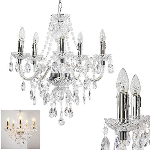 Lampadario con cristalli in acrilico trasparente - Sospensione 5 luci per salotto - soggiorno - cucina - Illuminazione candelabro camera da letto - Lampada altezza regolabile