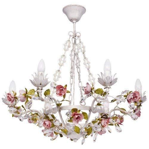 Lampadario di cristallo classico fiorentino, elegante, in metallo, 67 cm di diametro; 6 lampadine (non incluse)E14 x 6, da 40 W e 230 V