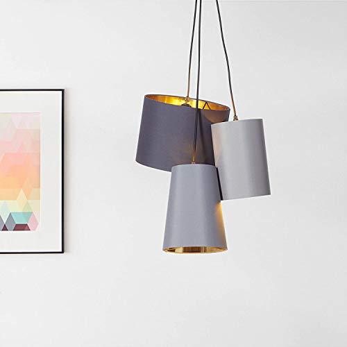 Lampadario elegante, 3 x E27 max. 40 Watt in tessuto/metallo in nero/oro
