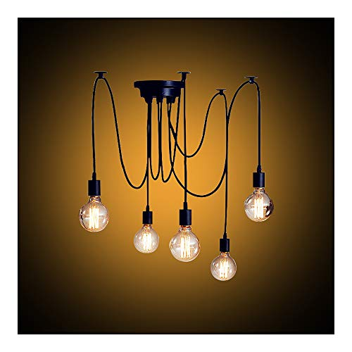 Lampadario Retrò Con G80lampadine, lampada e sospensioni lampadari da soffitto E27Portalampada con 1,8m filo per salotto sala da pranzo casa, 5 Bras Noir avec 5 Led Ampoules 40.00W