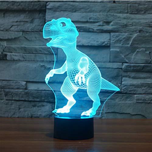 Lampade 3D Illusione Ottica Luce Notturna, EASEHOME Deco Lampada LED da Tavolo Illuminazione Luce di Notte 7 Colori Controllo Tattile Lampada Decorazione da Comodino con Cavo USB, Dinosauro-2