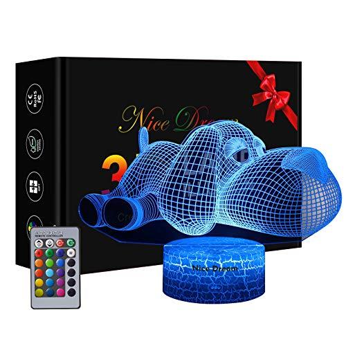 Lampade 3D Illusione Ottica Luce Notturna, Lampada Led Da Tavolo Illuminazione Luce Di Notte 16 Colori Controllo Tattile Lampada Decorazione Da Comodino Con Cavo Usb, Cane
