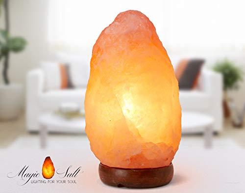 lampade al 100% di sale naturale Himalayano 2-3kg Realizzata a Mano con Base in Legno