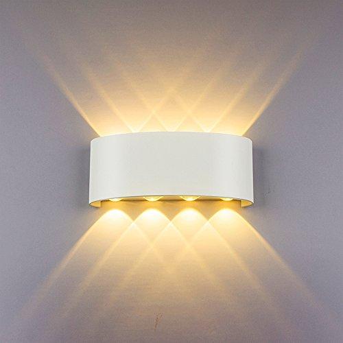 Lampade da Parete Moderne 8W LED Applique da Parete in Alluminio Bianco, Up Down Interni Lampada a Muro Decorazione, Perfetto per Camera Soggiorno Corridoio (Bianco Caldo)