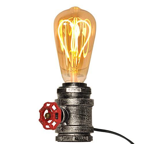 Lampade da tavolo Mid Century argento antico con valvola rossa Lampada Steampunk in metallo Retro edison Base per soggiorno Decorazione da scrivania rustica illuminazione vintage industriale e26