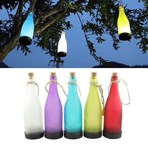Lampade Solari a Sospensione da Giardino LED Luci Della Bottiglia a Energia Solare un Set Comprende 5 Bottiglie a Colori(Bianco, Rosso, Viola, Azzurro, Verde)