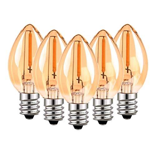 Lampadina a candelabro a filamento C7 LED, lampadine vintage Edison E14(vetro ambra), lampadine da 2200 K bianche ultra calde da 0,5W(5W equivalenti), 50 lumen, non dimmerabili, confezione da 5 pezzi